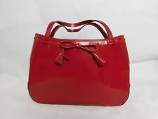 Ladies Red Anya Hindmarch Hand Bag Tassel Design Internal Pockets Studded Bottom