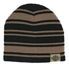 903edc94811 Harley-Davidson Men s Striped H-d Embroidered Knit Beanie Hat Black Tan  KN24203