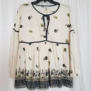 Lucky Brand Floral Top Blouse Long Sleeve NWT