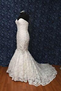 Wtoo by Watters 10439 Valentina Ivory Lace Mermaid Wedding Dress sz 8 NWT