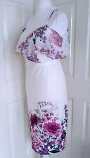 Kaleidoscope NWT UK size 18 white floral chiffon neckline stretch bodycon dress