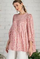 Easel Cherry Blossom Floral Print Ruffled Detail 3/4 Sleeve Tunic Top Size S M L
