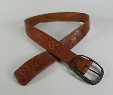 Tooled Harness Leather Belt 9152 Flower Hippie Brown 28 30 32