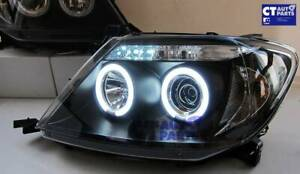 BLACK LED Twin Halo Projector Headlights for 05-10 TOYOTA HILUX SR5 Double Cab