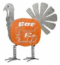 "Thanksgiving Turkey Galvanized Metal Wood Pumpkin Harvest Sign 22.5"" NEW FL7236"