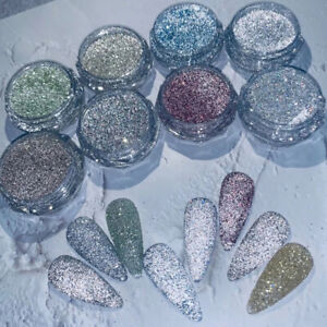 Sparkly Reflective Glitter Nail Powder Dust Auroras Nail Art Chrome Pigment Tips