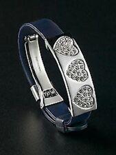 Love Heart Bracelet Jewelry Slider Charm Crystal Black Christmas Gifts New