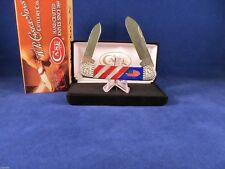 "Case 2011 Painted Pony ""OLD GLORY"" Canoe Knife MOP Coral Lapis Mint Box SN# 4"
