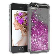 Für Apple iPhone 5 5S SE Glitzer Hülle Flüssig Silikon Case Handy Cover Lila