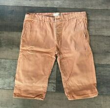 River Island Faded Orange Cotton Long Button Front Shorts W32