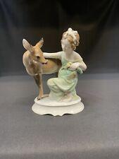 Rosenthal Girl Fawn Deer Vintage German Porcelain Figurine #1281