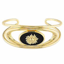 Amour 18k Yellow Gold over Silver Black Agate Sunflower Bangle Bracelet