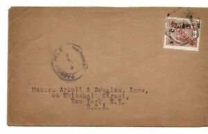 Portuguese Co. Mozambique 1916 cover surcharge in centavos to New York NY USA