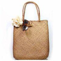 Women Handbag Summer Beach Bag Rattan Woven Handmade Knitted Shoulder Bag