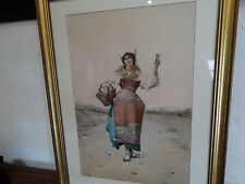 Carlo Ferranti Italian watercolor painting Flower Gatherer signed well listed