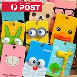 ☆ Kawaii School Bus Opal Card ID Holder Keyring Chain Bag Tag Cartoon ☆