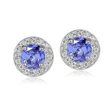 Sterling Silver 1.05ct Tanzanite & White Topaz 5mm Halo Stud Earrings