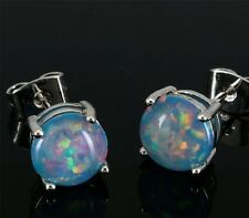 ***SUPERB**Silver/Rhodium Plated POWDER BLUE LAB FIRE OPAL STUD Earrings 8x8mm