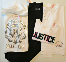 4Pc Lot Clothes Girls Nwt Sz 14/16 Justice Legging Outfit S/S&L/S Logo,& Hoodie