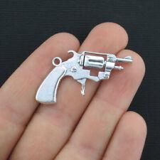SC4286 12 Gun Charms Antique Silver Tone 2 Sided Revolver