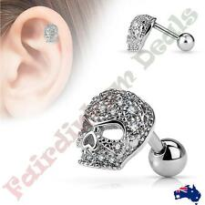316L Surgical Steel Tragus/Cartilage Stud with Paved Micro CZ Gems Skull