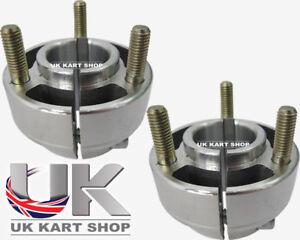Pair of 30mm Short Silver Wheel Hubs with Studs Go Kart Karting Race Racing