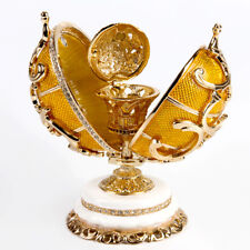 Russian Faberge Egg Replica Jewelry Box Made Russia Gold Floral Basket Gift Box