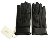 $795 BRIONI Brown Pebbled Leather Lined with 100% Cashmere Gloves Size 8.5