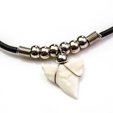 25-28 mm Large bull shark tooth elastic cord chrome beaded necklace gift c186