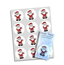 12 Santa Christmas Edible Rice Paper Cupcake Toppers Decorations Father Xmas Cut