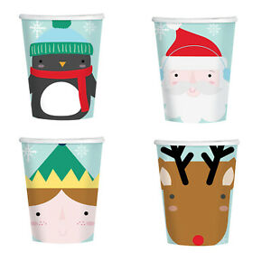 8 x Festive Freinds Cute Christmas Character Paper Party Cups Santa Penguin +