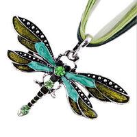 Charm Retro Libelle seidenweich Halskette Kette Strass gruen L6P1) 2I