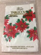 """Special Occasion 3 ply Paper Holiday Poinsettia Tablecloth 54 X 108"""""""