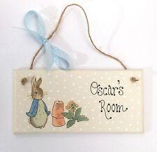 Handpainted Beatrix Potter Peter Rabbit Personalised Name Door Plaque Sign Gift