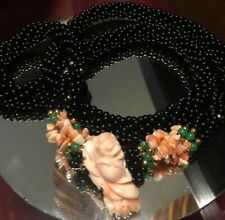 """VINTAGE ESTATE CORAL & ONYX BEADED HEAVY CARVED 26"""" NECKLACE"""