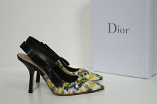 sz 8 / 38 Christian Dior Beaded Dusty Jade Bow Pointed Toe Slingback Pump Shoes