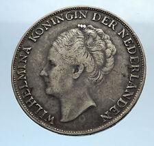 1944 CURACAO Netherlands Kingdom w Queen WILHELMINA Silver 1 Gulden Coin i71595