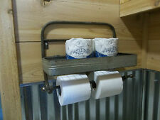 Rustic Farmhouse Aged Metal Paper Towel Holder & TOILET PAPER HOLDER Wire Shelf