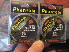 2 Spools RedWing Phantom Fluorocarbon Fishing Line Leader Material 6.6 Lb 55 Yd