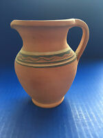 """Polish Handcrafted Red Clay Terracotta Pottery Pitcher 4.5"""" H (Made in Poland)"""