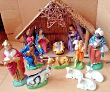 Vintage LARGE 14-Piece Lighted Musical Nativity Scene Creche Italy Silent Night