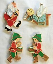 Lot of 4 Vintage Hallmark Wooden Santa, Angel and Drummer Boys Moveable Parts