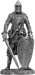 Tin soldier. Russian Noble Warrior, XIV AD 75 mm (White Metal)