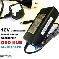12V Power Supply Adapter/ Charger for GEO HUB, GEOHUB ALL IN ONE PC Geo Hub