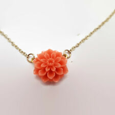 Sweet Resin Carnation Flower Gold Tone Necklace 18.5""