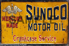 WEATHERED METAL SUNOCO GARAGE  BUILDING GAS STATION DIORAMA LAYOUT SIGN 3x2