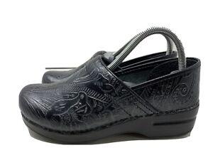 Dansko Embossed Black Leather Clogs Size 38