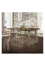 Trestle Legs Dining Room Table Rustic Kitchen Walnut Top Vintage Farmhouse White