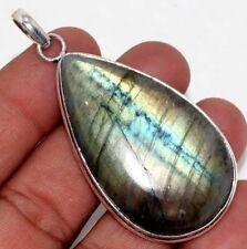 """Fiery Labradorite 925 Sterling Silver Plated Pendant 2.4"""" GW"""
