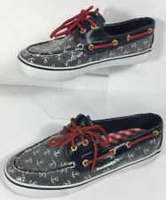 Vintage Sperry Top Sider Boat Shoes Red White And Blue Anchor Design  Size 6 M